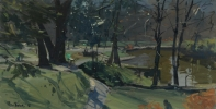 SPRING, THOMPSONS PARK, CARDIFF, Price: £1850.00, Medium: Oil on Board, Size: 6 X 12 INS