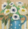 SUNDAY'S BOUQUET (ANEMONES AND CREAM), Price: £525.00, Medium: Oil on panel, Size: 12x12 ins