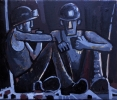 TWO MINERS 2, Price: £530.00, Medium: Oil on Canvas, Size: 10x12 ins