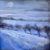 WINTER MOON, LOWER BRECON BEACONS, Price: £295.00, Medium: Oil on panel, Size: 6x6 ins