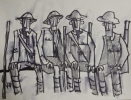SOLDIERS RESTING, Price: £230.00, Medium: Ink and Wash, Size: 7x9 ins