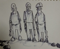 THREE MINERS, Price: £230.00, Medium: Ink and Wash, Size: 7x9 ins
