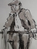 FARMER AT RAIL, Price: £495.00, Medium: Ink Wash, Size: 12 X 10 INS