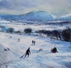 SLEDGING IN THE STRETTON HILLS, SHROPSHIRE, Price: £380.00, Medium: Oil on panel, Size: 9 X 9 INS