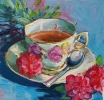 TEACUP 2, Price: £225.00, Medium: Acrylic on board, Size: 25X25cm