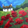 POPPIES AT THE BOTTOM OF THE GARDEN, Price: £560.00, Medium: Acrylic, Size: 12X12ins