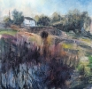 REEDS IN THE CANAL, ROGERSTONE, Price: £640.00, Medium: Acrylic on paper, Size: 68x68cm