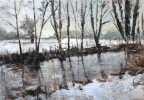 SNOW, LATE AFTERNOON. AFON LWYD AT LLANYRAVON, Price: £490.00, Medium: Acrylic on paper, Size: 69x49cm