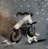 CYCLING THROUGH THE SNOW, Price: £75.00, Medium: Acrylic, Size: 5x5ins