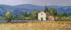 LAVENDER, GORDES by GARETH THOMAS, Price: £750.00, Medium: oil, Size: 18.5x8ins