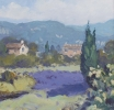 LAVENDER AND HOUSE, APT by GARETH THOMAS, Price: £550.00, Medium: oil, Size: 12x12ins