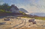 EVENING LIGHT AT THE PARROG, NEWPORT by THOMAS HASKETT, Price: £295.00, Medium: Oil on Board, Size: 12x8ins