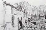 RHYDYCAR TERRACE, ST. FAGANS by COLIN BISHOP, Price: £100.00, Medium: Ink, Size: 12x16ins