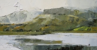 SNOWDON FROM LLYN Y GADER by DAVID GROSVENOR, Price: £540.00, Medium: oil, Size: 19x37cm
