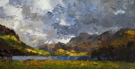 SNOWDON FROM LLYN NANTLLE UCHAF by DAVID GROSVENOR, Price: £540.00, Medium: oil, Size: 19x37cm
