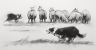 WORK MATES by ALISON BRADLEY, Price: £850.00, Medium: Charcoal, Size: 280x540cm
